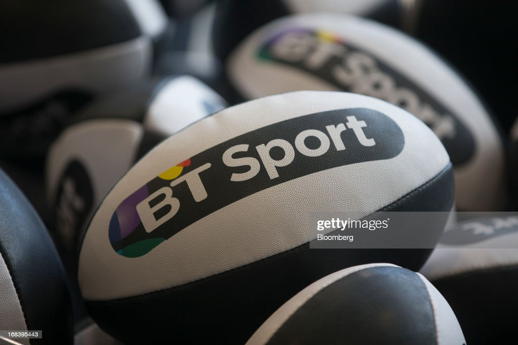 A branded rugby ball sits on display during the launch of BT Group Plc's new sports television channel BT Sport, at the company's offices at the former London 2012 Olympic Broadcast Center in London, U.K., on Thursday, May 9, 2013. British Sky Broadcasting Group Plc, the U.K.'s largest pay-TV broadcaster, fell the most in almost a year after BT Group Plc unveiled sports channels to compete with the Rupert Murdoch-controlled satellite operator. Photographer: Simon Dawson/Bloomberg via Getty Images