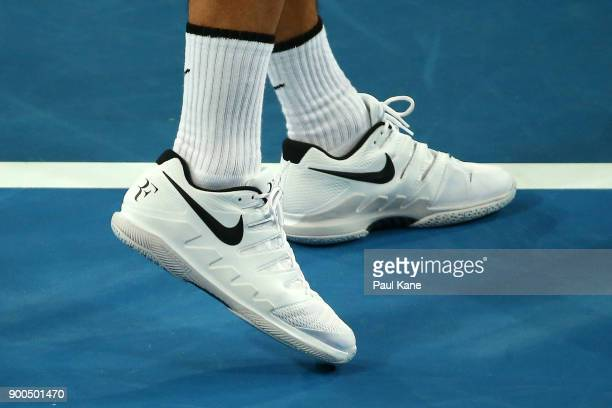 RF branded shoes of Roger Federer of Switzerland are seen on Day Four of the 2018 Hopman Cup at Perth Arena on January 2 2018 in Perth Australia