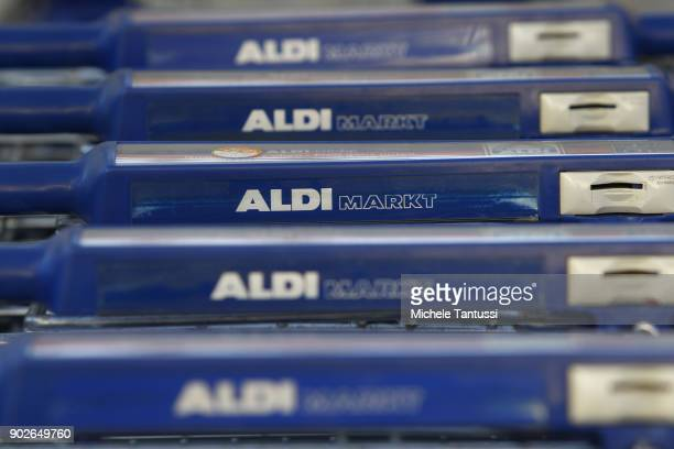 ALDI branded Shopping trolleys stands outside a Discount supermarket on January 8 2018 in Berlin Germany According to government statisticians...