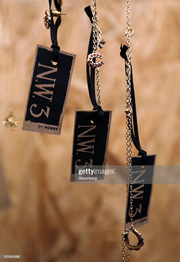 Branded tags sit attached to bracelets displayed for sale inside a NW3 store, a brand of Hobbs and former pop-up store, in London, U.K., on Tuesday, Nov. 27, 2012. Fashion chain Hobbs is among those that have opened pop-up stores for the first time this year, while CD and DVD retailer HMV Group Plc is adding more than usual for the holiday in an effort to win business. Photographer: Chris Ratcliffe/Bloomberg via Getty Images