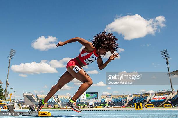 Brandee Johnson from USA competes in women's 400 meters hurdles during the IAAF World U20 Championships at the Zawisza Stadium on July 20 2016 in...
