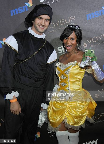 Brandee Tucker and Michael Steger arrive at Heidi Klum's 10th Annual Halloween Party Presented By MSN and Skyy Vodka at Voyeur on October 31 2009 in...