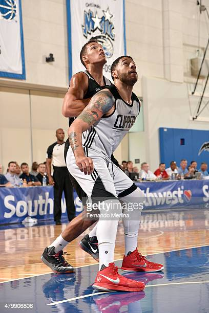 Branden Dawson of the Los Angeles Clippers and Aaron Gordon of the Orlando Magic battle for position on July 4, 2015 at Amway Center in Orlando,...