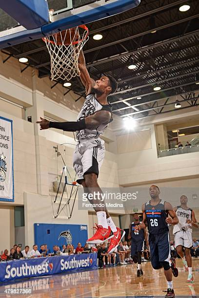 Branden Dawson of the Los Angeles Clippers dunks against the Oklahoma City Thunder in the 2015 Orlando Pro Summer League on July 7, 2015 at Amway...