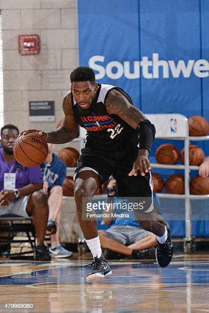 Branden Dawson of the Los Angeles Clippers handles the ball against the Miami Heat in a 2015 NBA Orlando Pro Summer League game on July 8, 2015 at...
