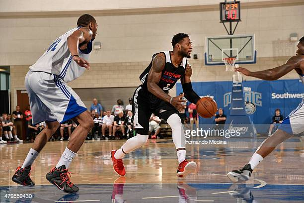 Branden Dawson of the Los Angeles Clippers moves the ball against the Detroit Pistons during the game on July 5, 2015 at Amway Center in Orlando,...