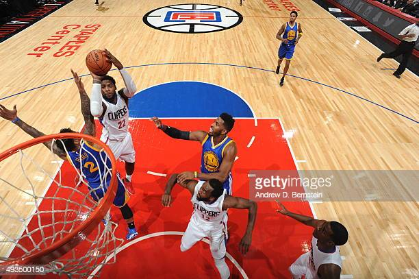 Branden Dawson of the Los Angeles Clippers shoots against the Golden State Warriors on October 20, 2015 at STAPLES Center in Los Angeles, California....