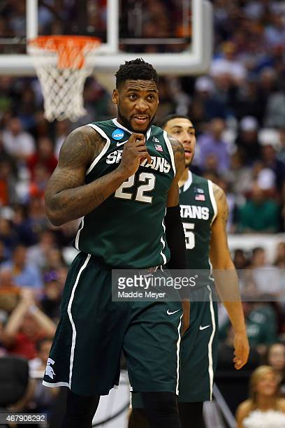 Branden Dawson of the Michigan State Spartans celebrates after defeating the Oklahoma Sooners 62 to 58 during the East Regional Semifinal of the 2015...