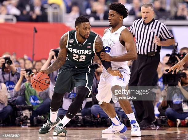 Branden Dawson of the Michigan State Spartans posts up Justise Winslow of the Duke Blue Devils in the first half during the NCAA Men's Final Four...