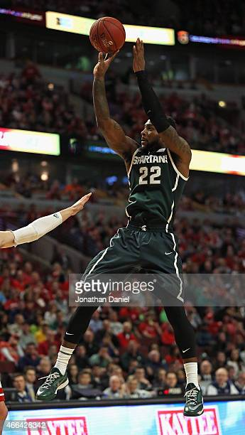 Branden Dawson of the Michigan State Spartans puts up a shot against the Wisconsin Badgers during the Championship game of the 2015 Big Ten Men's...