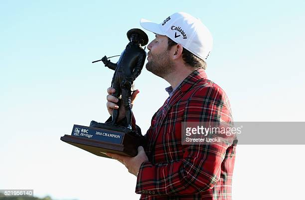 Branden Grace celebrates with the trophy after winning the 2016 RBC Heritage at Harbour Town Golf Links on April 17 2016 in Hilton Head Island South...
