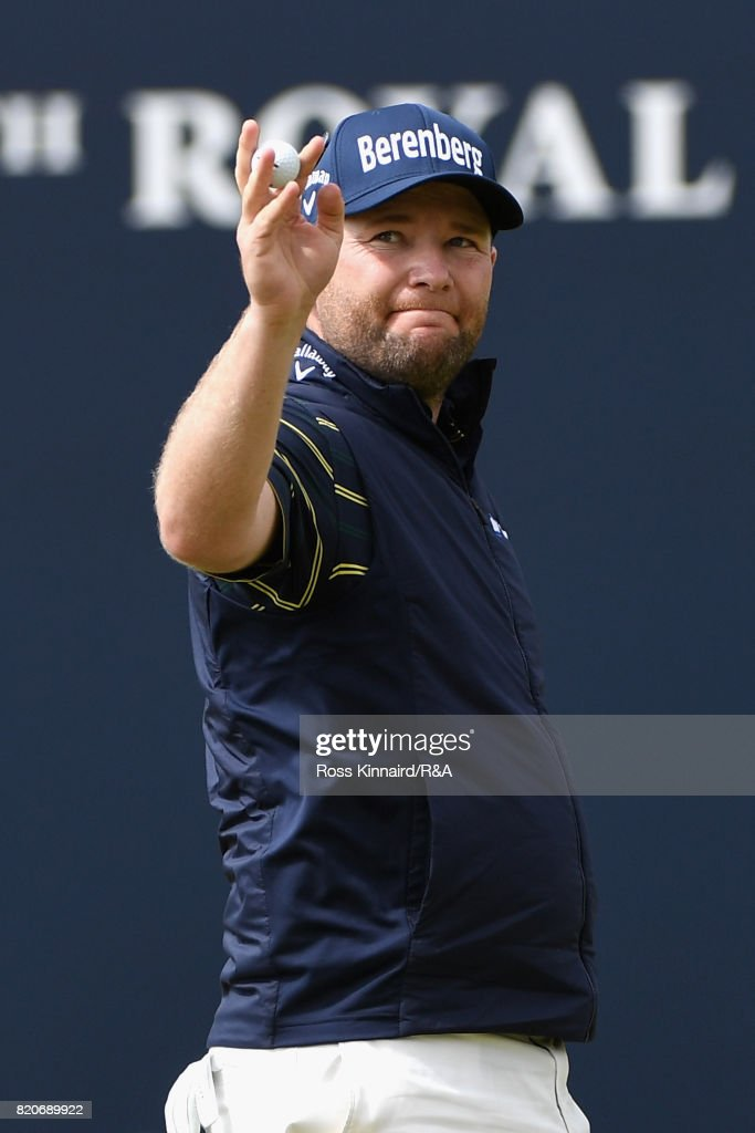 Branden Grace of South Africa acknowledges the crowd on the 18th green after shooting a 62 the lowest round in major championship history during the third round of the 146th Open Championship at Royal Birkdale on July 22, 2017 in Southport, England.