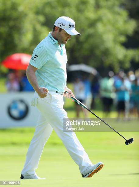 Branden Grace of South Africa celebrates a bridie on the 17th green during the third round of the BMW South African Open Championship at Glendower...