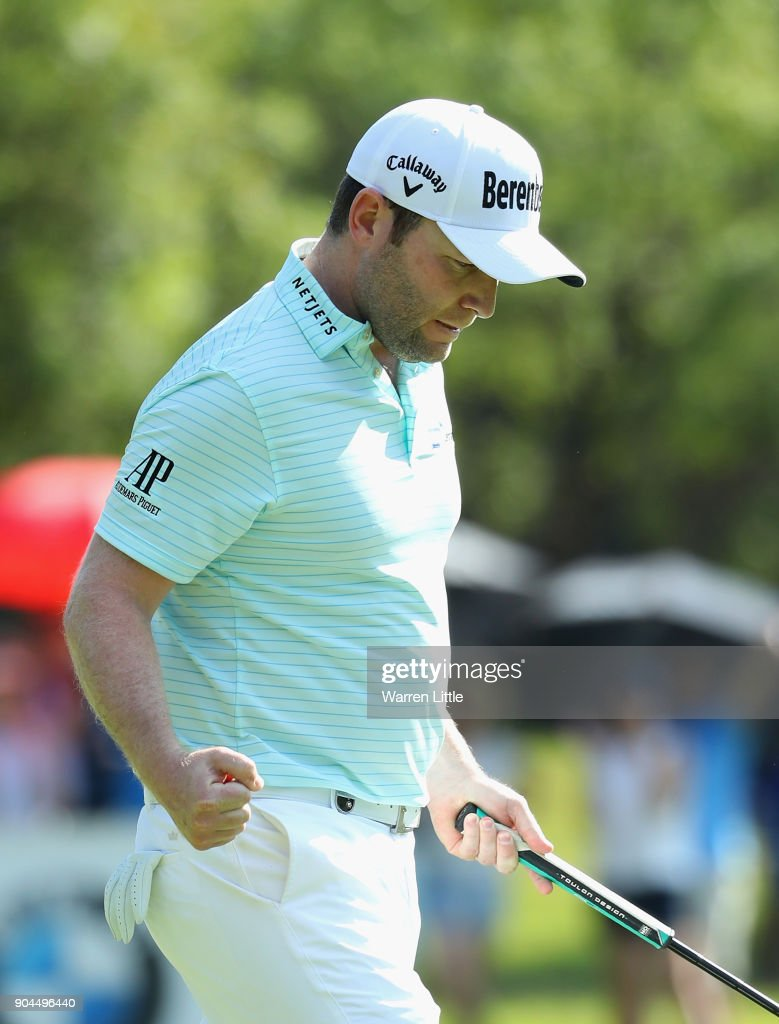 Branden Grace of South Africa celebrates a bridie on the 17th green during the third round of the BMW South African Open Championship at Glendower Golf Club on January 13, 2018 in Johannesburg, South Africa.