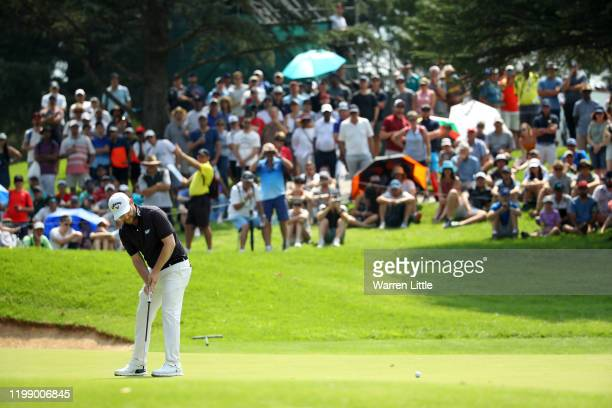 Branden Grace of South Africa celebrates after a birdie on the 14th green during Day Four of the South African Open at Randpark Golf Club on January...