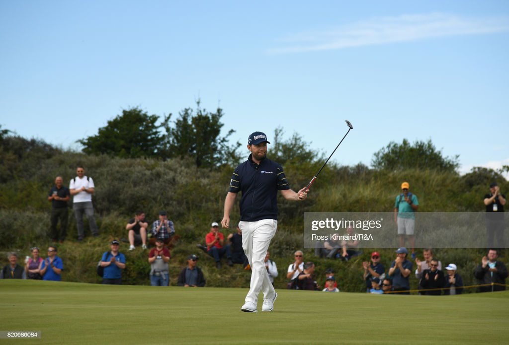 Branden Grace of South Africa celebrates his birdie on the 16th hole during the third round of the 146th Open Championship at Royal Birkdale on July 22, 2017 in Southport, England.