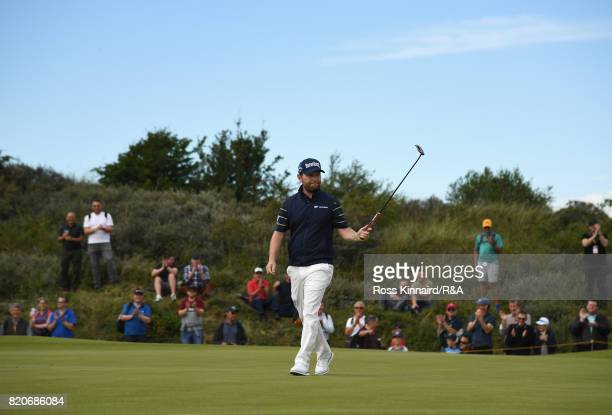 Branden Grace of South Africa celebrates his birdie on the 16th hole during the third round of the 146th Open Championship at Royal Birkdale on July...