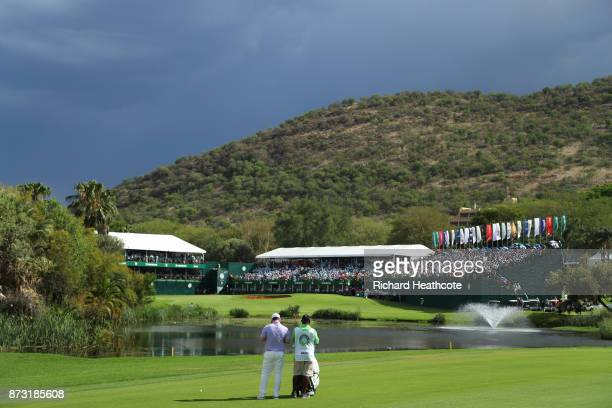 Branden Grace of South Africa looks towards the 18th green during the final round of the Nedbank Golf Challenge at Gary Player CC on November 12 2017...