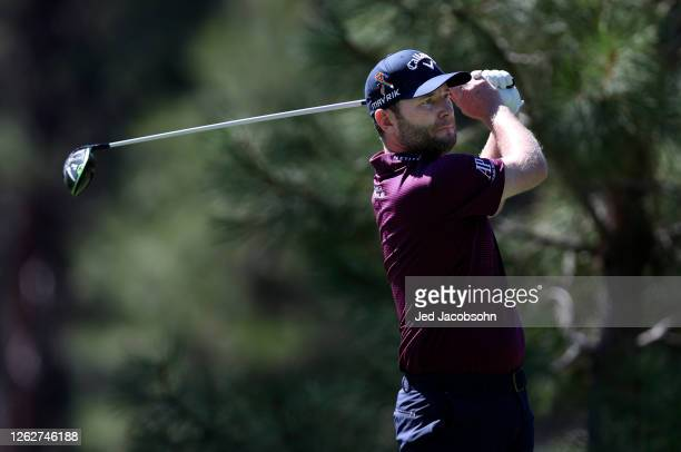 Branden Grace of South Africa plays his shot from the 11th tee during the first round of the Barracuda Championship at Tahoe Mountain Club's Old...