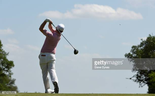 Branden Grace of South Africa plays his shot from the 15th tee during the second round of the Valero Texas Open at TPC San Antonio ATT Oaks Course on...