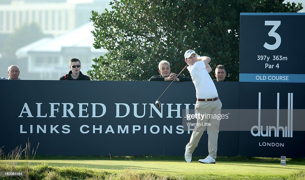 Branden Grace of South Africa plays off the third tee during the third round of the Alfred Dunhill Links Championship on The Old Course, at St Andrews on September 28, 2013 in St Andrews, Scotland.
