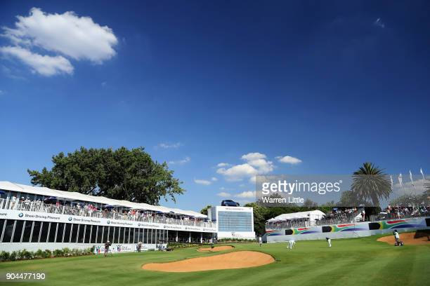Branden Grace of South Africa putts on the 18th green dduring the third round of the BMW South African Open Championship at Glendower Golf Club on...