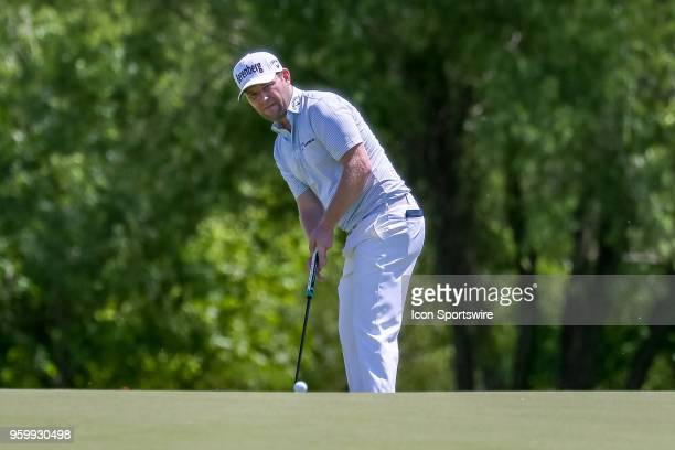 Branden Grace of South Africa putts on the 9th green during the second round of the 50th anniversary AT&T Byron Nelson on May 18, 2018 at Trinity...
