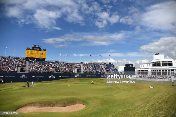 Branden Grace of South Africa putts onto the 18th green during the third round of the 146th Open Championship at Royal Birkdale on July 22 2017 in...