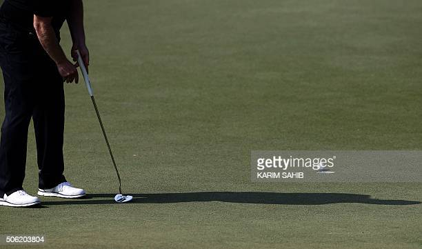Branden Grace of South Africa putts the ball during the second round of the Abu Dhabi Golf Championship on January 22, 2016 in the capital of the...