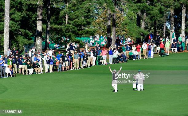 Branden Grace of South Africa reacts to his Eagle on the 15th hole during the second round of the Masters at Augusta National Golf Club Friday April...