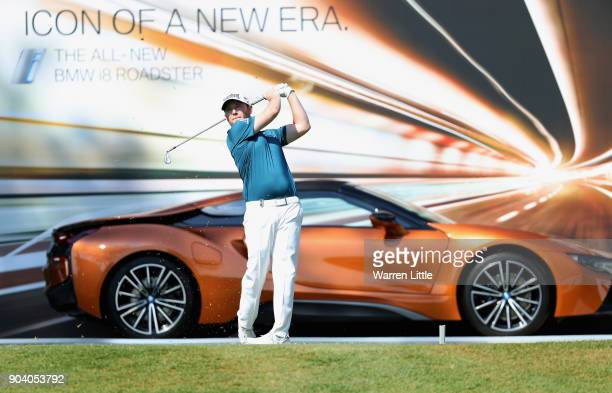 Branden Grace of South Africa tees off on the 17th hole during day two of the BMW South African Open Championship at Glendower Golf Club on January...