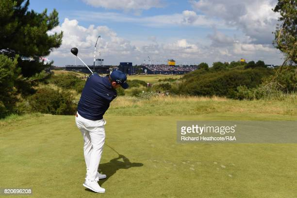 Branden Grace of South Africa tees off on the 18th hole during the third round of the 146th Open Championship at Royal Birkdale on July 22, 2017 in...