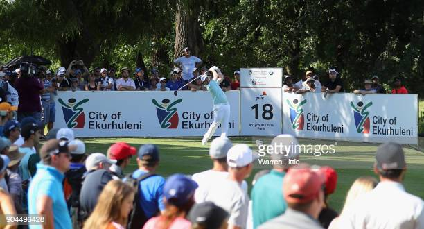 Branden Grace of South Africa tees off on the 18th hole during the third round of the BMW South African Open Championship at Glendower Golf Club on...