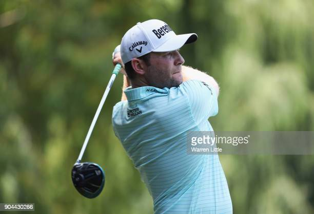 Branden Grace of South Africa tees off on the 8th hole during day three of the BMW South African Open Championship at Glendower Golf Club on January...