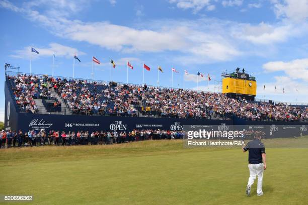 Branden Grace of South Africa walks up the 18th fairway during the third round of the 146th Open Championship at Royal Birkdale on July 22 2017 in...