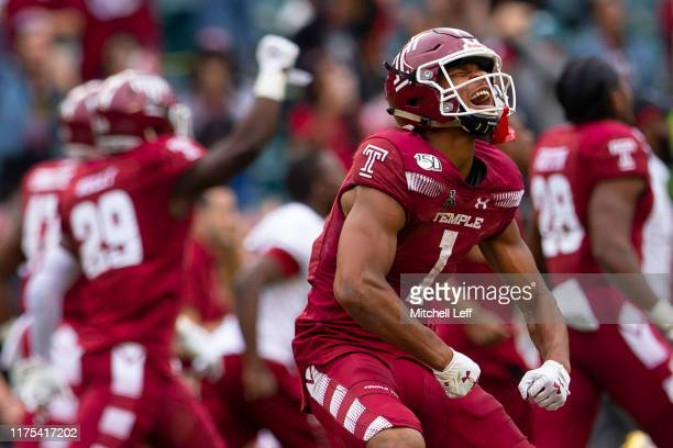 Branden Mack of the Temple Owls celebrates after the game against the Memphis Tigers at Lincoln Financial Field on October 12, 2019 in Philadelphia,...