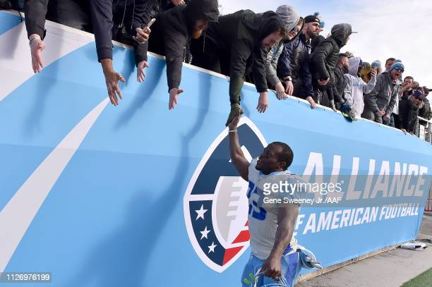 Branden Oliver of Salt Lake Stallions celebrates with fans following their 2315 win over the Arizona Hotshots in their Alliance of American Football...