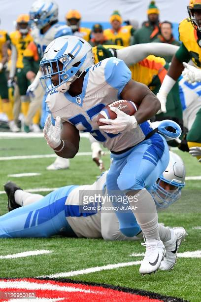 Branden Oliver of Salt Lake Stallions rushes with the ball against the Arizona Hotshots during their Alliance of American Football game at Rice...