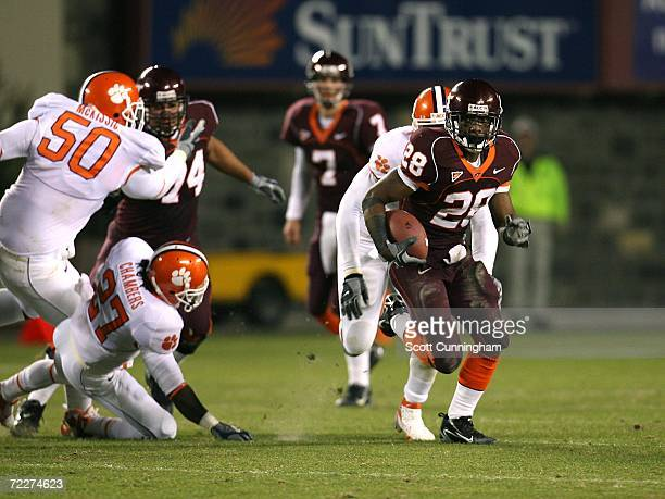 Branden Ore of the Virginia Tech Hokies carries the ball against the Clemson Tigers on October 26 2006 at Lane Stadium in Blacksburg Virginia...