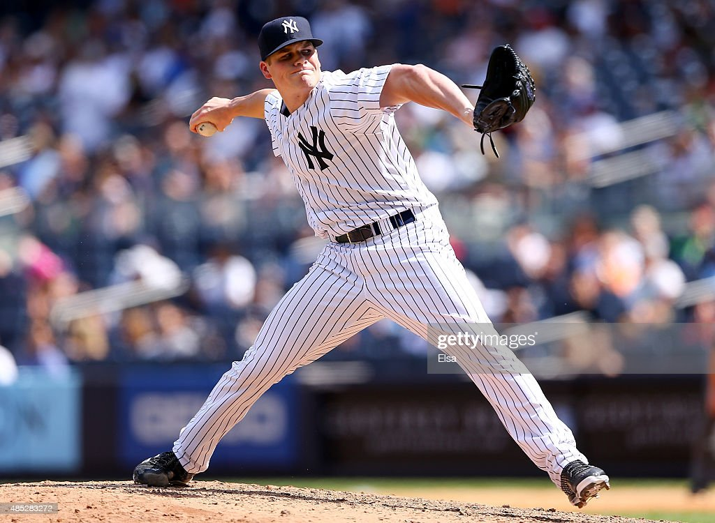Branden Pinder #57 of the New York Yankees delivers a pitch in the sixth inning against the Houston Astros on August 26, 2015 at Yankee Stadium in the Bronx borough of New York City.