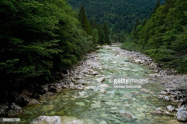 Brandenberger Ache river flows next to rocks in the old logging path Kaiserklamm which was used for timber transportation on July 23 2016 in Pinegg...