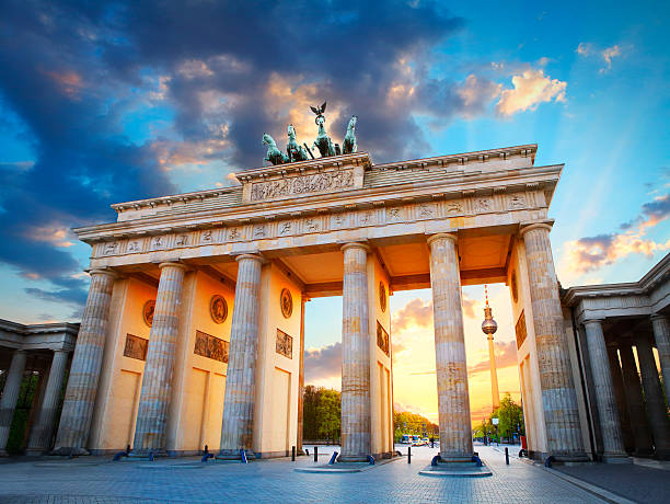 brandenburg gate and the tv tower in berlin - germany stock pictures, royalty-free photos & images
