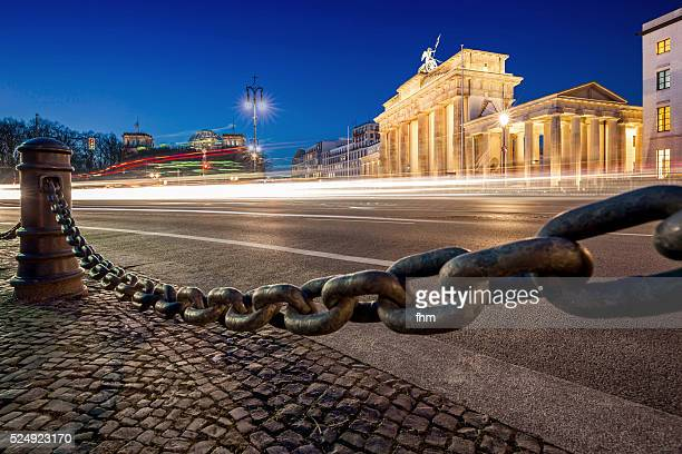 Brandenburg Gate (Brandenburger Tor), Berlin with barrier chain