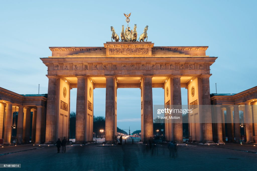 Brandenburg Gate illuminated at night, Berlin, Gemany : Stock Photo