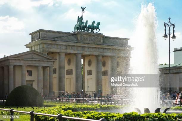 Brandenburg Gate or Brandenburger Tor at Pariser Platz on May 19 2017 in Berlin Germany