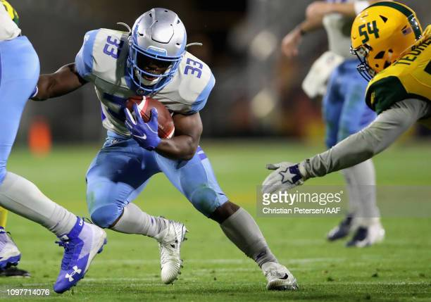 Branden Oliver of the Salt Lake Stallions runs with the ball against the Arizona Hotshots during the second half of the Alliance of American Football...
