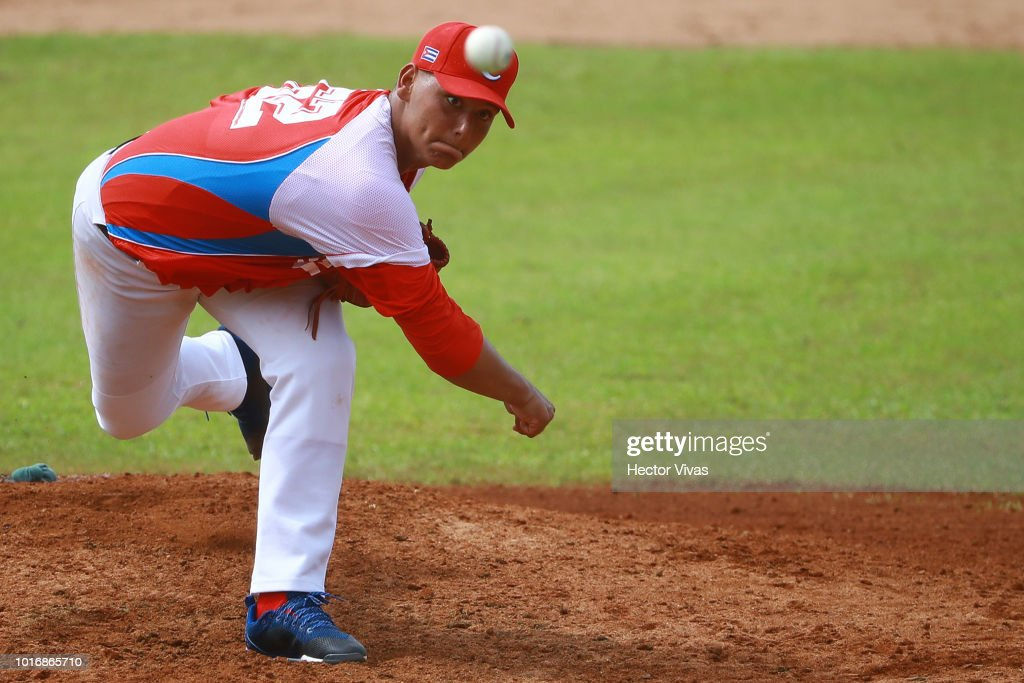 Brander Guevara #62 of Cuba pitches during the WBSC U-15 World Cup Group B match between Netherlands and Cuba at Estadio Rico Cedeno on August 10, 2018 in Chitre, Panama.