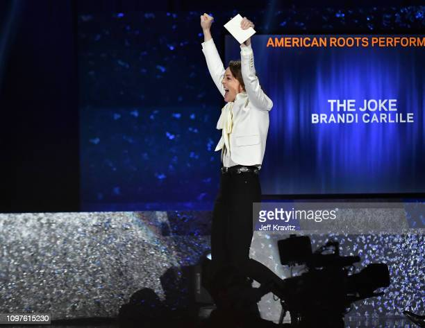 Brandi Carlile accepts award at the premiere ceremony during the 61st Annual GRAMMY Awards at Microsoft Theater on February 10 2019 in Los Angeles...
