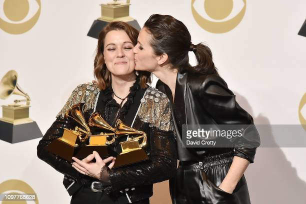 Brandi Carlile and Catherine Shepherd attend the 61st Annual Grammy Awards Press Room at Staples Center on February 10 2019 in Los Angeles California