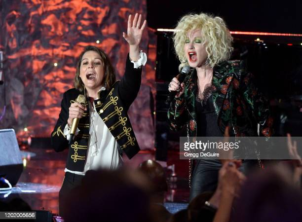Brandi Carlile and Cyndi Lauper perform onstage during the PreGRAMMY Gala and GRAMMY Salute to Industry Icons Honoring Sean Diddy Combs on January 25...